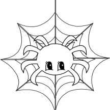 Cute Little Spider on Spider Web Coloring Page