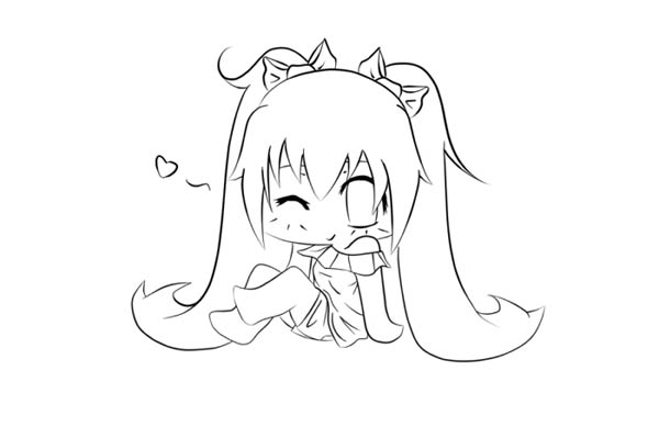 cute chibi coloring pages - cute miku chibi picture coloring page netart