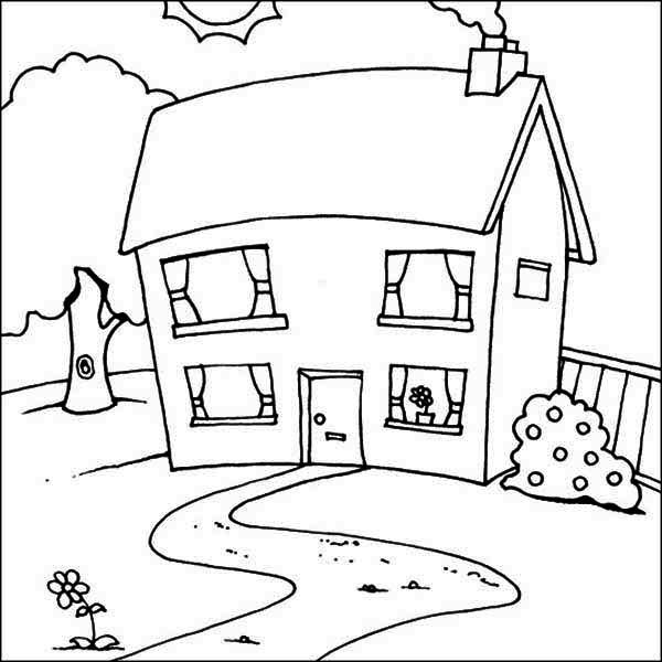 Cute Picture of Houses Coloring Page - NetArt
