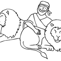 Daniel Love the Lions in Daniel and the Lions Den Coloring Page