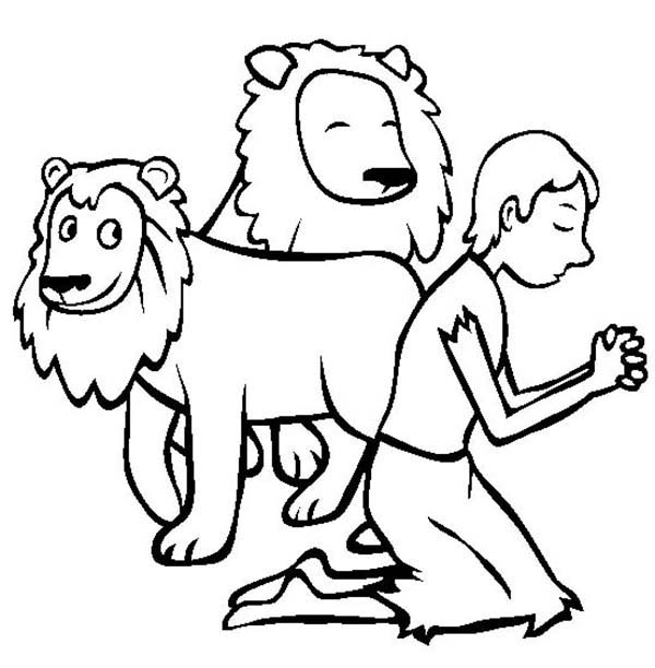 Daniel Pray in Daniel and the Lions Den Coloring Page NetArt