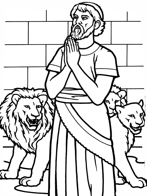 Daniel Pray to God in Daniel and the Lions Den Coloring Page NetArt