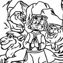 Daniel Praying Facing Jerusalem in Daniel and the Lions Den Coloring Page