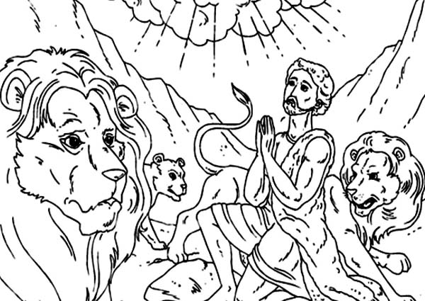 Daniel Praying In And The Lions Den Coloring Page