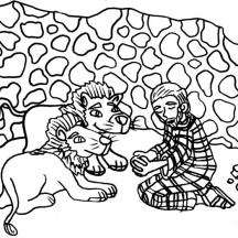 Daniel Praying in Front of Two Lions in Daniel and the Lions Den Coloring Page