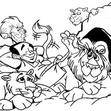 Daniel Relaxed with the Lions in Daniel and the Lions Den Coloring Page
