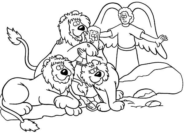 Daniel Saved from an Angel in Daniel and the Lions Den Coloring ...