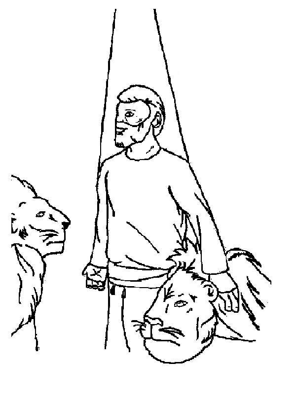 Daniel and Lion in Daniel and the Lions Den Coloring Page