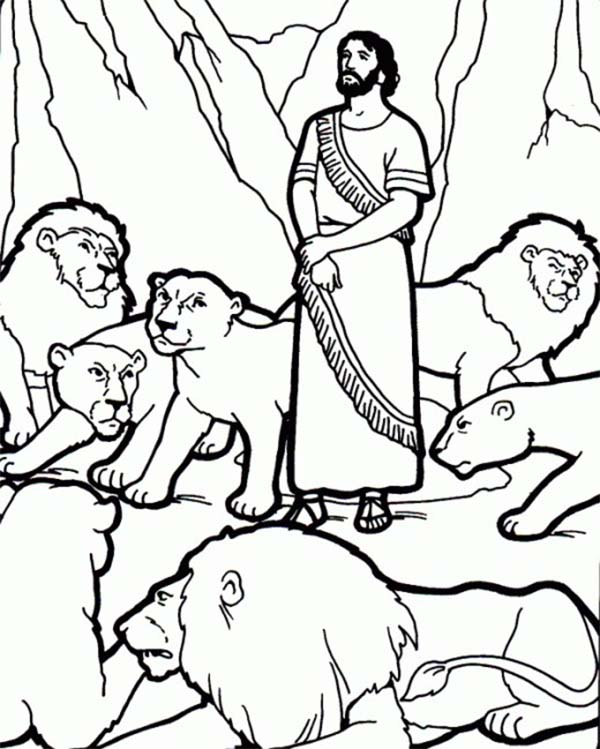 Daniel and the Lions Den Picture Coloring Page NetArt