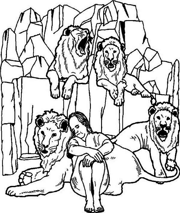 Daniel is Sleeping in Daniel and the Lions Den Coloring Page - NetArt