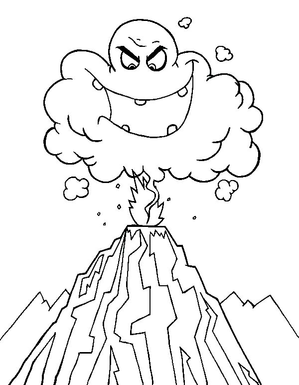 coloring page of a volcano - deadly hot ash cloud in volcano eruption coloring page