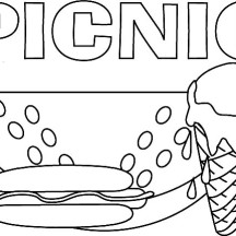 Delicious Food for Picnic Coloring Page