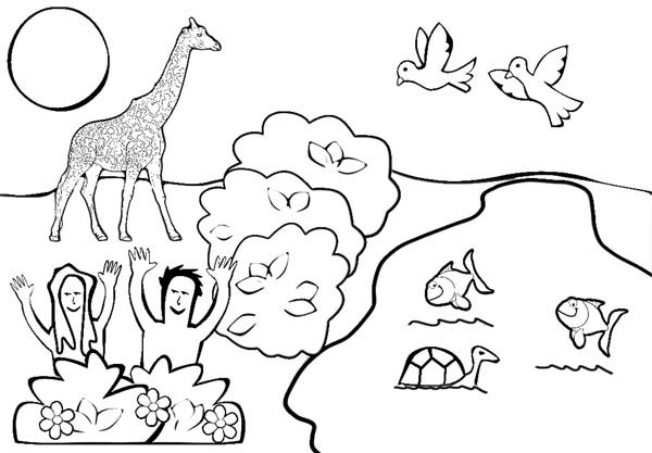 Depiction of Garden of Eden Coloring Page NetArt