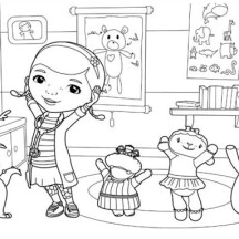 Doc McStuffins and Friends are Happy Together Coloring Page