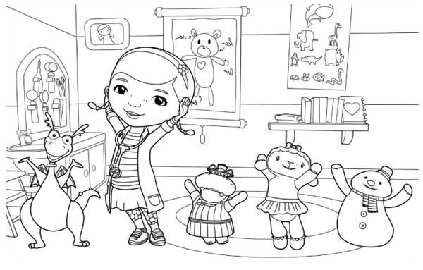 Doc Mcstuffins And Friends Are Happy Together Coloring Page Netart Doc Mcstuffins Printable Coloring Pages