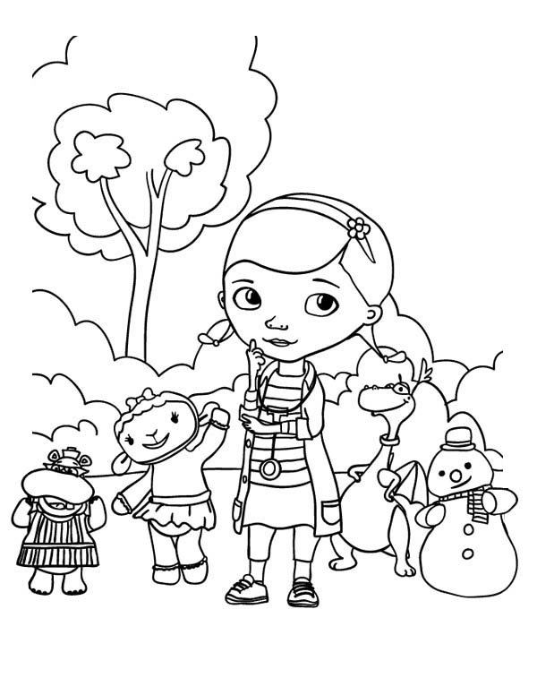 Doc McStuffins and Friends in the Park in Doc McStuffins Coloring