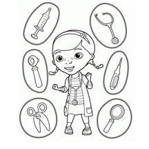 Doc McStuffins and Medical Equipment Coloring Page