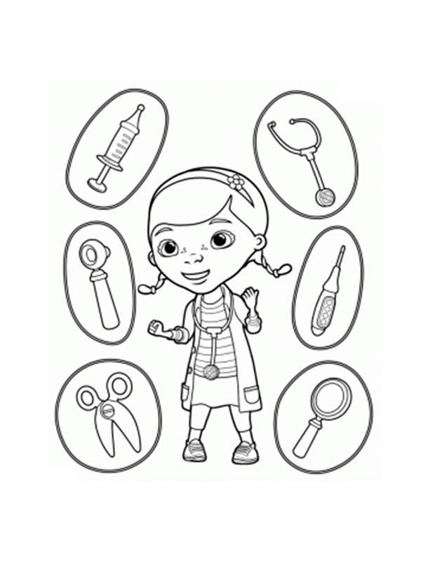 Doc McStuffins and Medical Equipment Coloring Page  NetArt