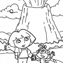 Dora and Erupting Volcano Coloring Page