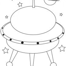 Drawing Alien in Spaceship Coloring Page