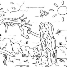Eve Pick Forbidden Fruit in Garden of Eden Coloring Page