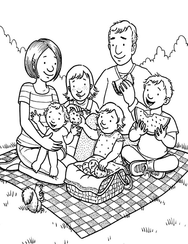 Family Holiday Picnic Coloring Page - NetArt