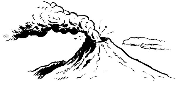 Fantastic Picture Of Erupting Volcano Coloring Page