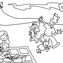 Father and His Daughter Playing Kite in Picnic Coloring Page