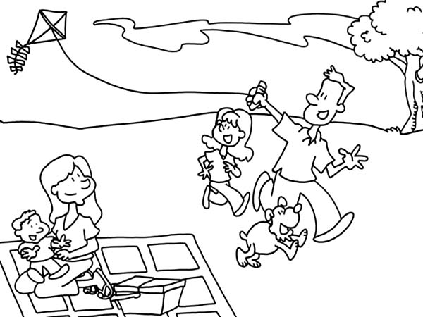 Father and his daughter playing kite in picnic coloring for Father and daughter coloring pages