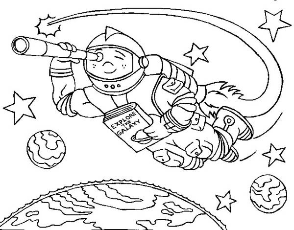 Floating With Rocket Spaceship Coloring Page