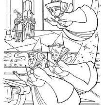 Flora and Fauna and Merryweather from Sofia The First Coloring Page