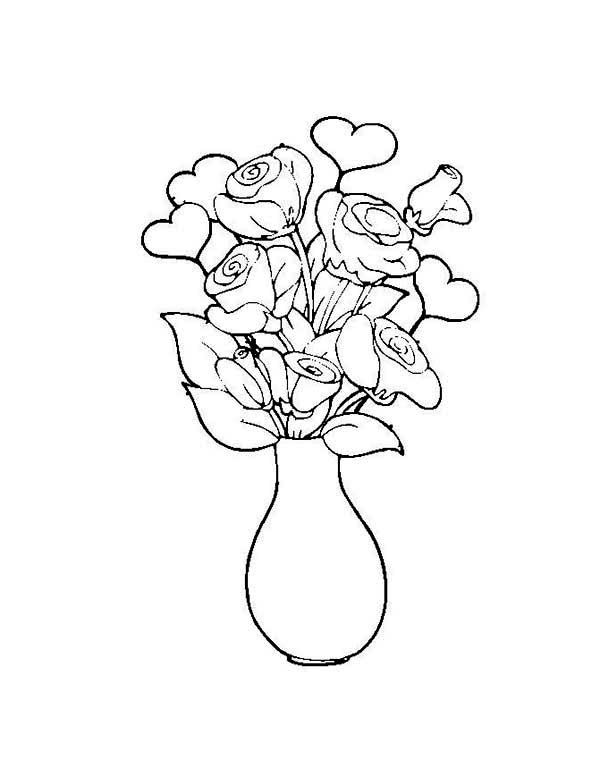 Flower in the Vase Coloring Page NetArt