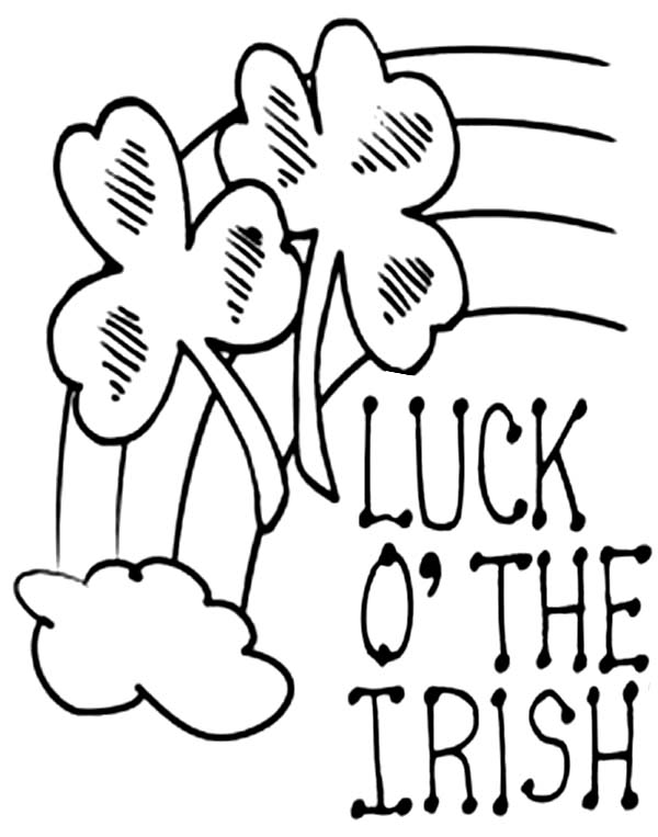 Four Leaf Clover Luck Of The Irish Coloring Page