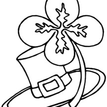 Four Leaf Clover And Traditional Irish Hat Coloring Page