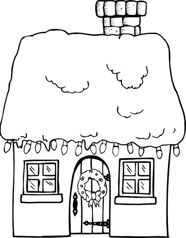 gingerbread house in houses coloring page