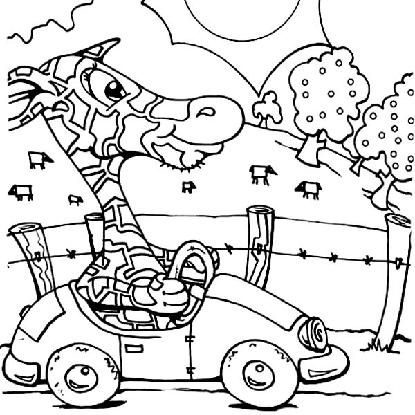 Giraffe Driving Car Coloring Page