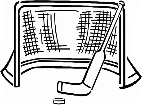 Goal and Puck and Stick in Hockey Coloring Page