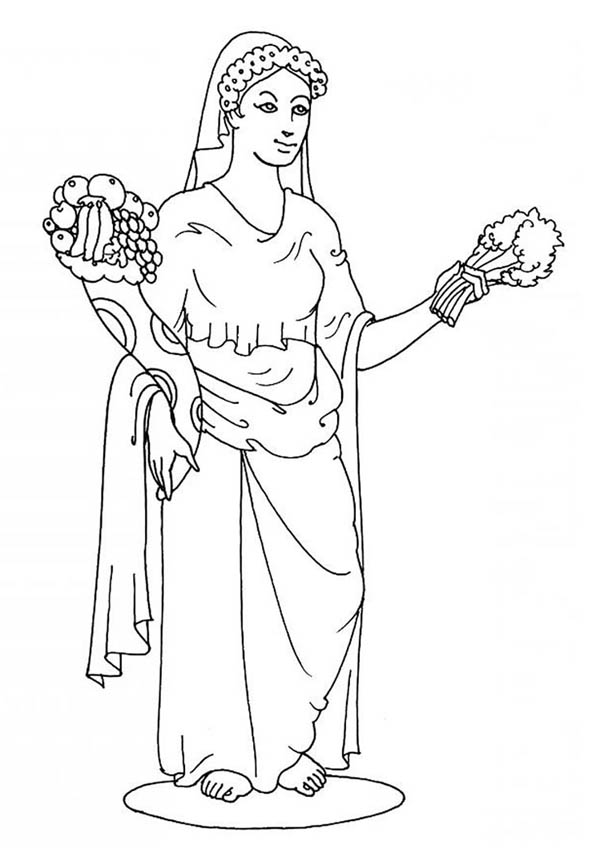 Goddes Demeter From Greek Gods And Goddesses Coloring Page