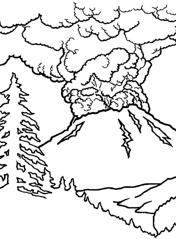 Great Volcano Eruption Coloring Page