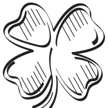 Green Shamrock or Four-Leaf Clover Coloring Page