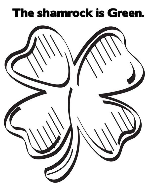 Green Shamrock Or Four Leaf Clover Coloring Page