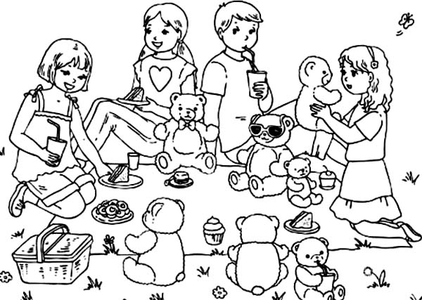 Group of Kid and Their Teddy Bear Picnic Together Coloring Page
