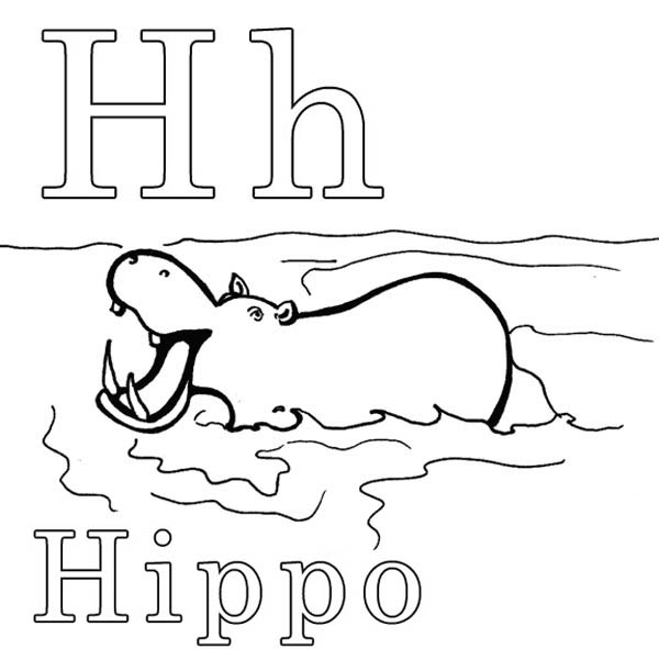 h is for hippo coloring pages - photo #2