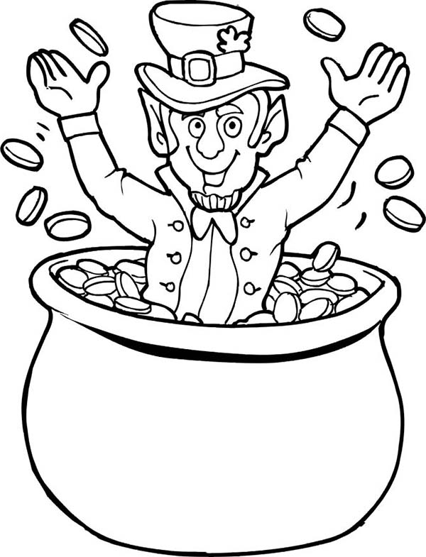 Happy Leprechaun Cheering St Patricks Day on Pot of Gold Coloring ...