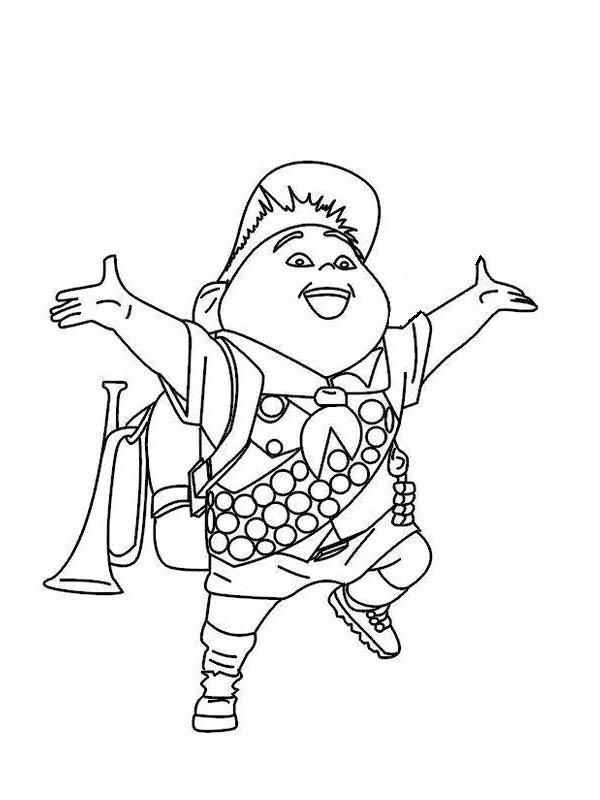 Russell from up coloring pages ~ Happy Russell Disney Up Coloring Page - NetArt