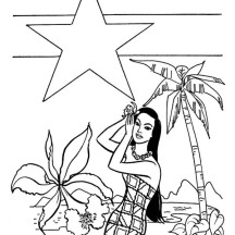Hawaaii and Alaska for American Flag in Hawaiian Coloring Page