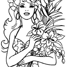 Hawaiian Barbie Coloring Page