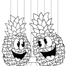 Hawaiian Fruit Pineapple Coloring Page
