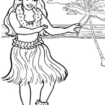 Hawaiian Hula Dancer Coloring Page