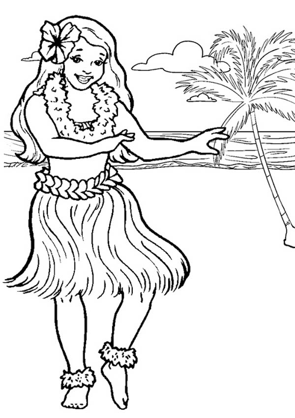 Hawaiian Hula Dancer Coloring Page NetArt